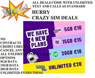 Information Services - Category Hurry!!!! Crazy Sim Card Only Plan Deals