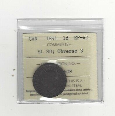 1891 SL:SD Obv#3 ,ICCS Graded Canadian, Large One Cent, **EF-40**