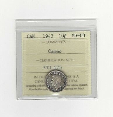 1943 ICCS  Graded Canadian,  10  Cent, **MS-63 Cameo**