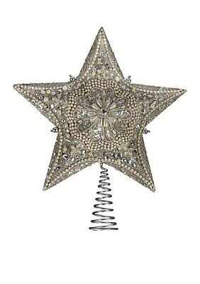 Platinum and Ivory 5 Point Star Christmas Tree Topper Decoration 13.5 Inch S4306
