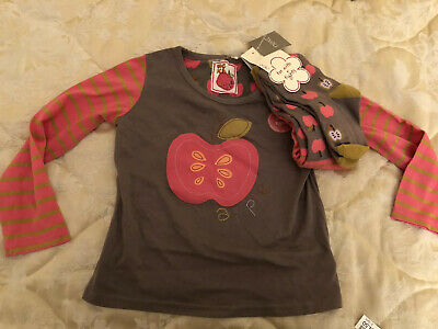 Bnwt Next Girls Top And Tights SET Apple Appliqué Top Matching Apple Tights 3-4