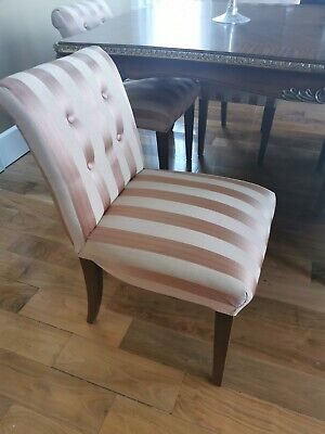 Set of 8 Pink striped silk dining chairs