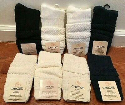 Lot of Cherokee Womens Naturals Slouch Socks 1996 Vintage Cream White Blue Black