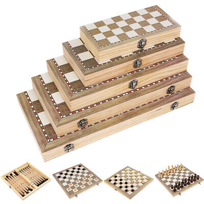 3 in1 Kids Folding Wooden Chess Backgammon Boards Game Checkers Draughts Set Toy