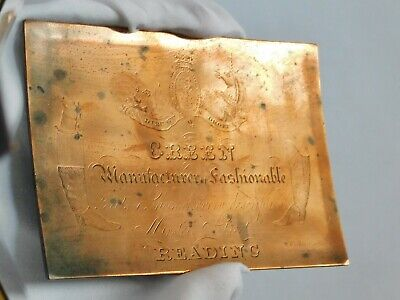 c1800 Scottish Copper Engraved Plate British Boots Shoes Store Intaglio Printing