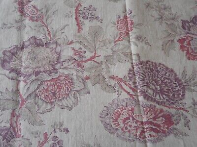 Antique French Time Softened Indienne Floral Linen Fabric ~ Lavender Rose Sage