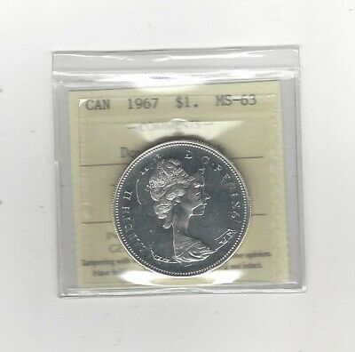 1967 Double Struck , ICCS Graded Canadian Silver Dollar **MS-63**