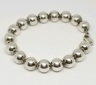 Authentic TIFFANY & CO. 925 Sterling Silver 10mm Ball Bead Chain Bracelet 7.5""