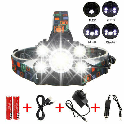 90000LM T6+4x XPE 5 LED Rechargeable 18650 USB Headlamp Head Light Torch Lamp