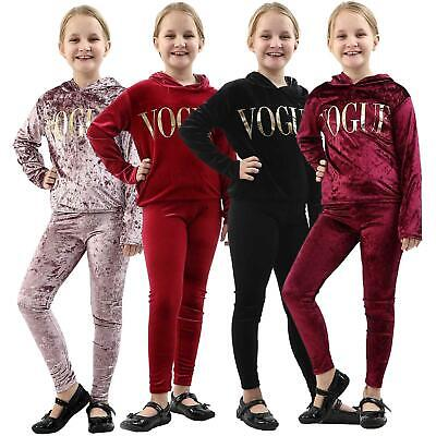 New Girls Kids Velvet Lounge Wear 2 Piece Hooded Vogue Tracksuit