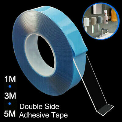 1/2/3/5M Blue Magic Tape Washable Reusable Double Sided Multifunctional