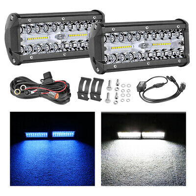 2x 7inch 400W LED Light Bar Spot Flood Side Shooter Quad Row Work Driving Trucks