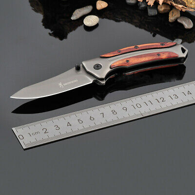 Browning Outdoor Folding Knife Wooden Handle Tactical Camping Survival Blade