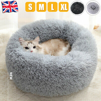 Large Luxury Shag Warm Fluffy Pet Bed Dog Puppy Kitten Fur Donut Cushion Mat UK