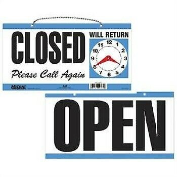 Headline Sign 9395 Double-Sided Open/Closed/Will Return Sign with Clock Hands,