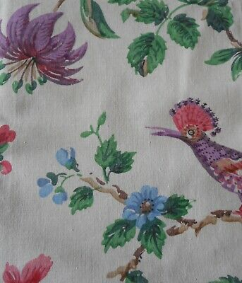 Antique French Floral Bird Cotton Fabric ~ Paul Dumas ~ Purple Green Pink Blue