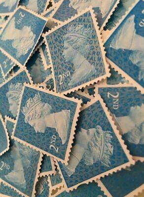100 x 2nd Class Security Stamps Unfranked Off Paper No Gum