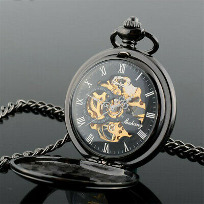 Steel Mechanical Pocket Watches Dial Luxury Pendant Lucky Hollow Case with Chain