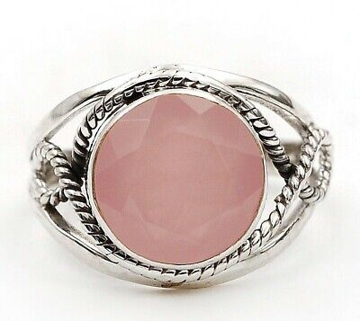 Faceted Rose Quartz 925 Solid Sterling Silver Ring Jewelry Sz 8.5, D25-6