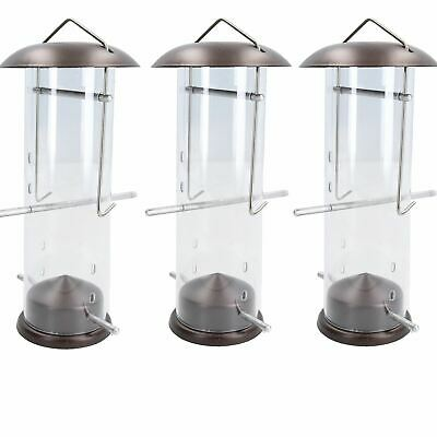3PK Small Deluxe Bird Feeder Nyjer Seed Holder Hanging Feed Station Wild Birds