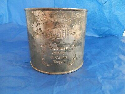 "Antique Silver Plated Brass Container ""SUGAR The Finest Quality Of Cuban Sugar"""