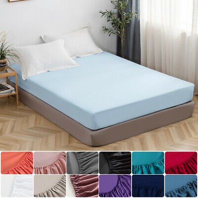16'' Extra Deep Bed Sheet Fitted Sheet Bottom Sheet Elastic Polyester Queen Size