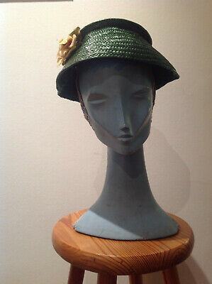 Vintage 1950s Green Straw Hat with Rose decoration