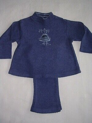 Girls blue jumper & trousers set age 3 years long sleeves good condition