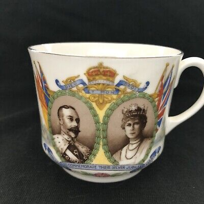 Tea Cup And Saucer Aynsley King George Silver Jubilee England Bone China
