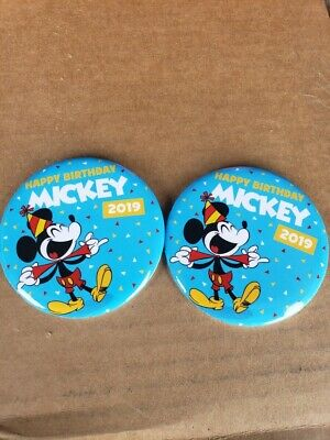 2 Exclusive Disney Parks Happy Birthday Mickey Mouse 2019 Button Pins In Hand