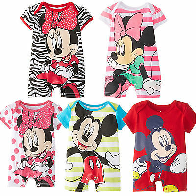 Baby Kids Boys Girls Mickey Minnie Short Sleeve Romper Jumpsuit Casual Outfits