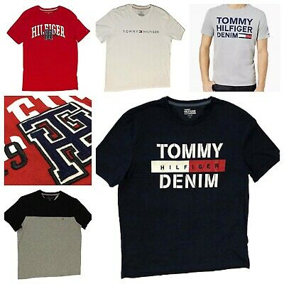 Tommy Hilfiger Mens T-Shirt Big Logo Short Sleeve Graphic Tee Flag Crew Neck New