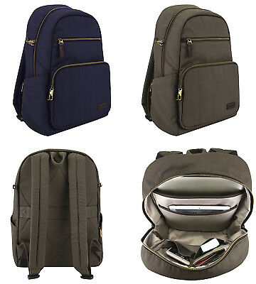New!! Travelon Courier Collection Anti-Theft Rfid Safe Slim Travel Backpack
