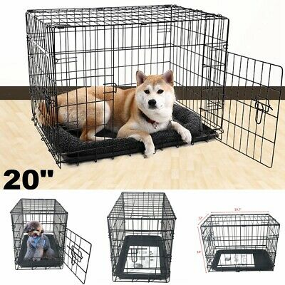 METAL Wire Cat Dog Folding Steel Crate Playpen Pet Cage Kennel w/ Tray Indoor