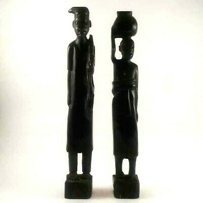 Hand Carved Wooden Tribal African Art Statues Man Woman Home Decor Figures Ebony