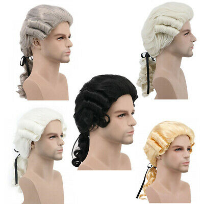 Mens Baroque Wig Vintage Noble Court Judge Wig Lawyer Historical Drama Cosplay