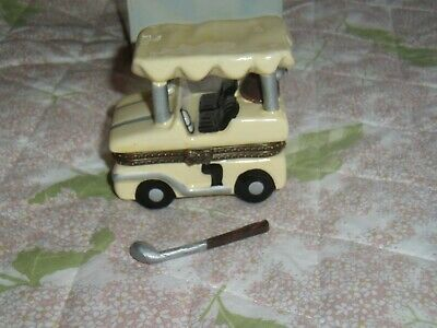 Golf Cart NEW Trinket Box Limoges Style handpainted porcelain brass hinged-lid