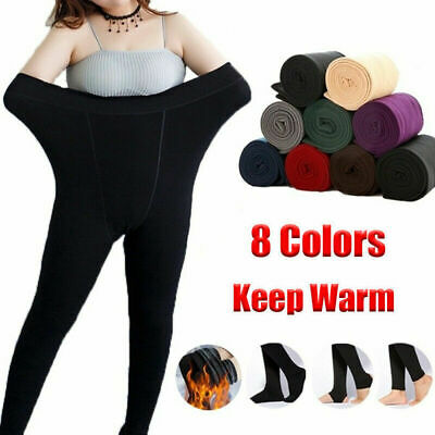 Ladies Women's Winter Warm Fleece Lined Thick Thermal Full Foot Tights Pants UK~