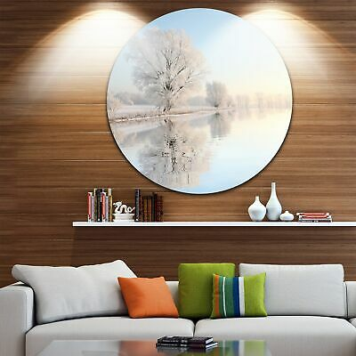 Designart 'Frosty Winter Tree by Rising' Photo Large Disc  Small