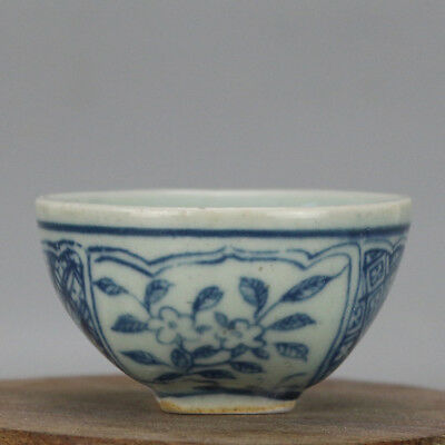 China old hand-carved porcelain Blue and white flower pattern Kung fu cup