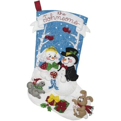 "Bucilla Felt Stocking Applique Kit 18"" Long-bride And Groom"