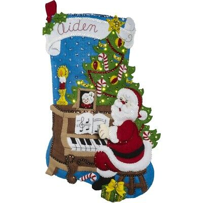 "Bucilla Felt Stocking Applique Kit 18"" Long-santa At The Piano W/ Lights"