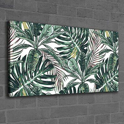Canvas Print Photo Wall Picture Tropical Palm Leaves delicate Watercolour 120x60