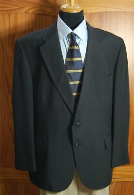 Stafford Sharp Black Two Button Wool Blend Blazer Sport Coat Suit Jacket 44S