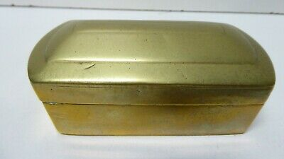 Antique Brass Box Case Travelling Ink Well ? Early Hinged Lid Victorian Georgian