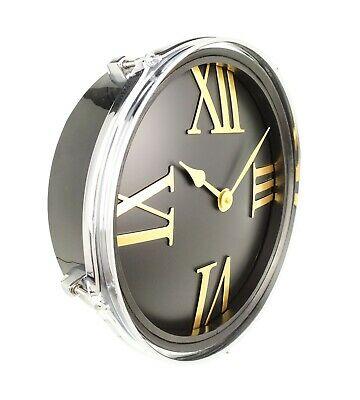 TomTom Wall Clock - Black and Gold Art Deco Roman Numeral 33cm Clock Face