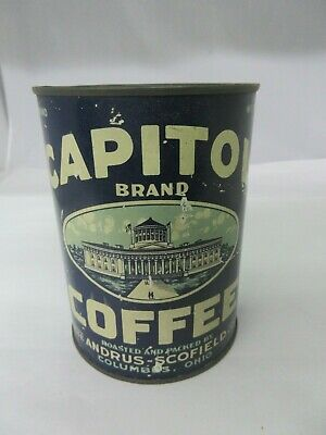 Vintage Capital Coffee With Original Lid  Advertising Collectible  647-Q