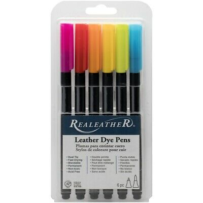 Realeather Crafts Leather Markers 6/pkg-brights