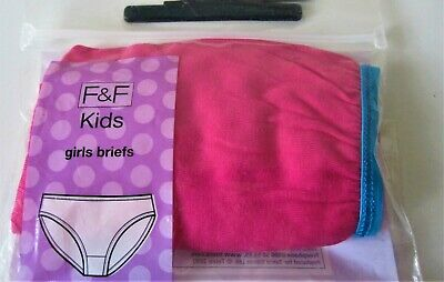 Girls F&F Briefs Pink Knickers 100% Cotton 11-12 Years Height 152 Cm One Only