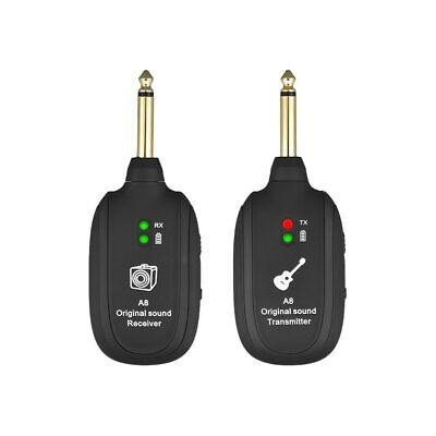 UHF Wireless Guitar Transmitter Receiver System Electric Bass Rechargeable Built